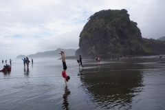 Jaida's handstand Piha beach