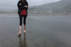 Raining on Piha Beach