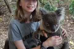 Jaida holding a koala