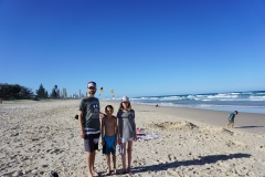 Christian and the kids at Mermaid beach
