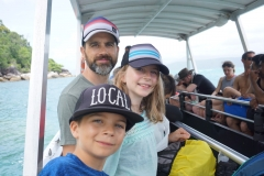 Christian, Jaida and Blake on boat tour of Fitzroy island
