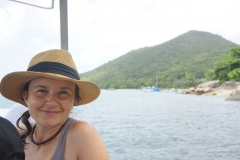 Michele on boat tour of Fitzroy island