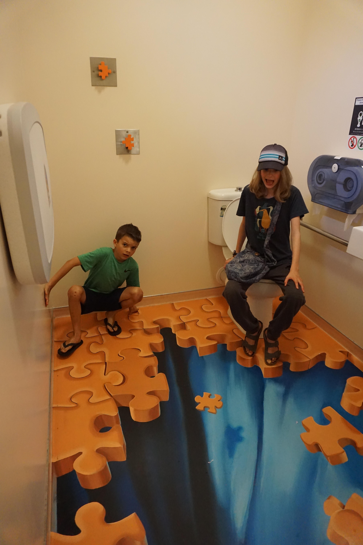 Puzzling world bathroom