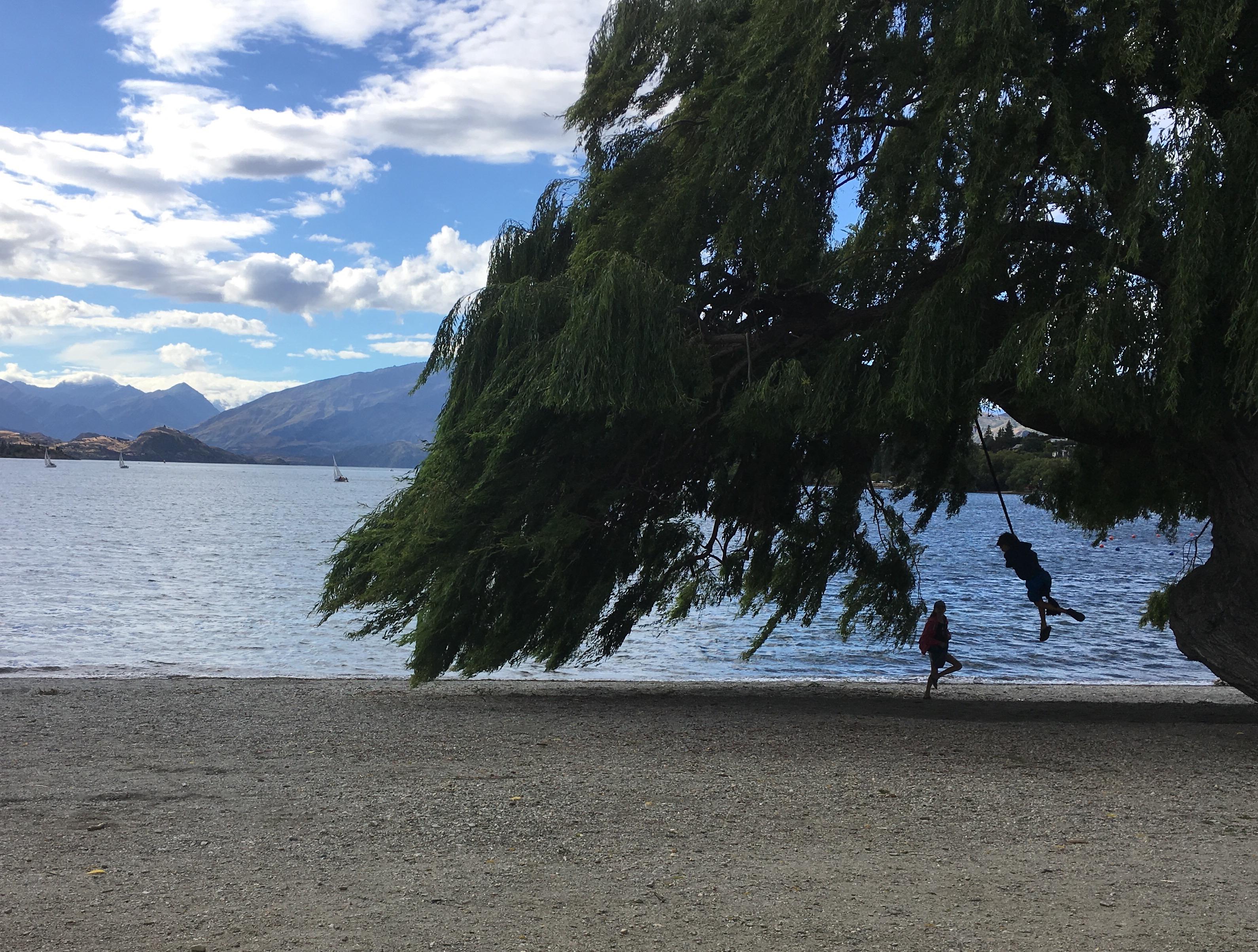 rope swing Wanaka lake