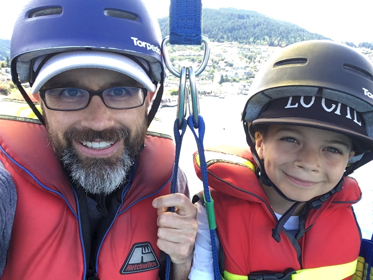 Christian and Blake parasailing
