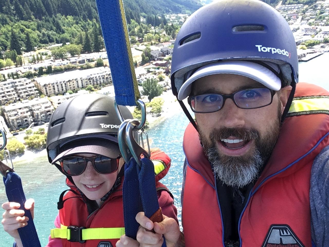 Jaida and Christian parasailing