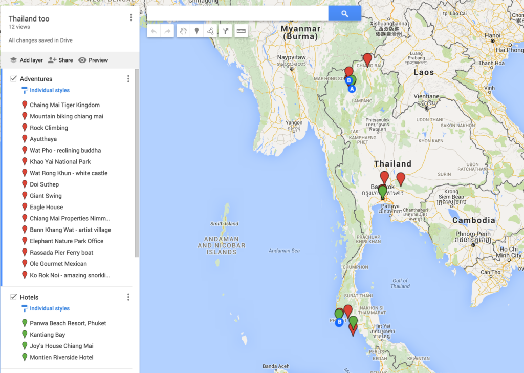 Used google maps to create a personal map with tourist destinations in Thailand.